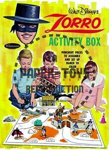 VINTAGE REPRINT - 1965 ZORRO ACTIVITY BOX - REPRODUCTION