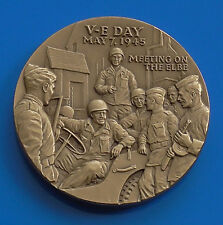 Bronze Medal General George Marshall VE Day Victory Elbe WW2 1970 USA Made 53g