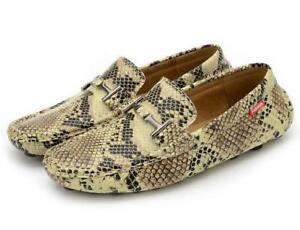 Mens Slip On Snakeskin Moccasin-Gommino Driving Loafers Leisure Breathable Shoes