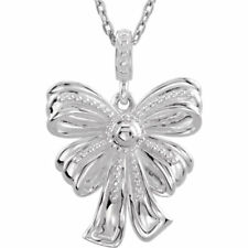 "Bow Design 18"" Necklace In 14K White Gold"