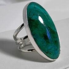 New Jay King 925 Sterling Silver Size 6 Oval Blue/Green Chrysocolla Ring