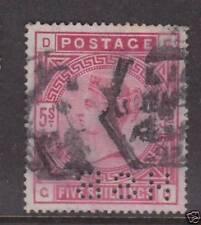 Gb Qv Victoria 1883 5/- Shilling Red Used Perfin Ref: Qv04