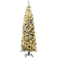 7.5Ft Pre-lit Snow Flocked Artificial Pencil Christmas Tree w/ 350 LED Lights