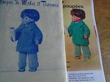 """T 2 PATRON POUPEE """"JEAN-MICHEL"""" MODES ET TRAVAUX"""""""" MANTEAU EN RATINE 1973"""