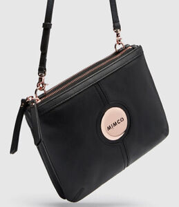 MIMCO Black Couch Hip Bag Cross Body Clutch Leather Rose Gold Logo BNWT RRP$199