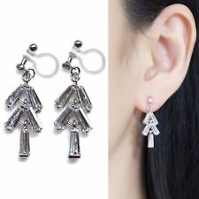 Bridal Wedding Cubic Zirconia Drop CZ Silver Crystal Invisible Clip On Earrings