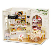 Wooden Doll House With Furniture Miniature DIY Cake Shop Cafe Pub Girl Dolls