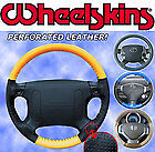 Wheelskins Perforated Custom 1 or 2 Color Leather Steering Wheel Cover Eurotone