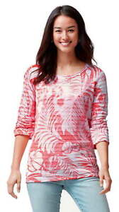 $125 Tommy Bahama Coral Palms Knit Pullover Small 2 4 Boatneck 3/4 Sleeve NWT