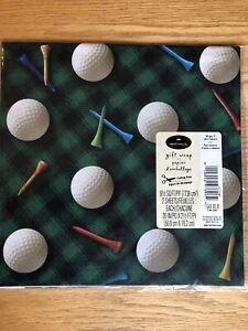Vintage Hallmark Green Plaid Golf Themed Gift Wrap Two Sheets Made In USA