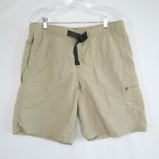 New listing Columbia Omni-Shade Men's Elastic Waist Mesh Lined Belted Beige Swim Shorts Sz M