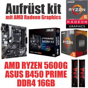 AMD Ryzen 5 5600G mit Graphics ● ASUS Mainboard ● 16GB RAM ● PC Bundle Set Kit