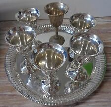 Wine Goblet Tray Silverplated Brass India set of 6 in  a Case