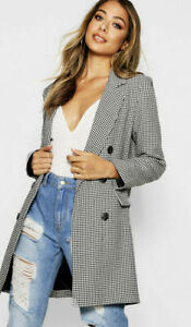 BOOHOO LADIES DOGTOOTH DOUBLE BREASTED BLAZER BLACK NEW (ref 441/691(14)