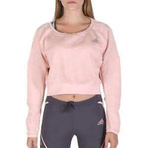 Adidas Women Sport Pullover Shirt Running Fitness Sweater Sweatshirt Jacket Pink