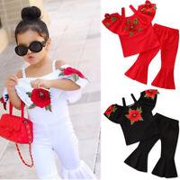 2PCS Kids Girls Toddler Floral Tops T-Shirt Pants Set Outfits Children Clothes
