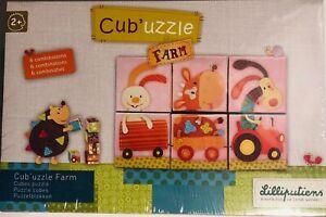 Cub'Uzzle Farm Block Cube Childrens Puzzle by Lilliputiens 6 Combos Ages 2+