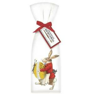 Set of Two Bunny Rabbit In Red Coat with Vintage Easter Egg Flour Sack Towel