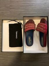 CHANEL BURGUNDY DARK FUCHSIA GOLD CHAINS FABRIC MULES SIZE 39 PREOWNED