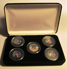 Kennedy Brothers 5 Coin Colorized Quarter Coin Set With COA