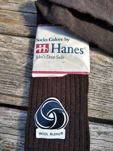 "Vintage ""HANES"" Men's Dress Socks New 10-13 BROWN WOOL BLEND USA"