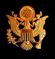 """US ARMY MILITARY OFFICERS CAP EAGLE BADGE INSIGNIA Golden  2 1/2"""""""