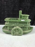 "vintage unmarked Brush McCoy Green Ceramic Pilgrim Steamboat Planter Vase 9.5"""