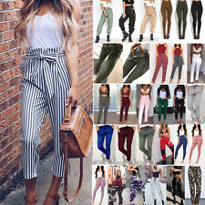 Women's High Waist Pencil Pants Loose Casual Cargo Cigaratte Striped Trousers AU