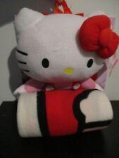 "NWT Hello Kitty Plush 14"" Backpack & Fleece 50"" Throw Blanket Sanrio Red Pink"