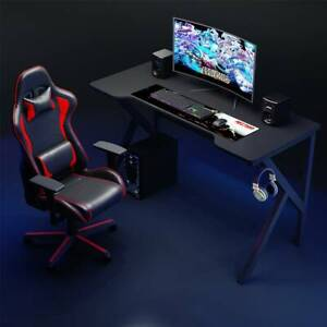 K-Shaped Gaming Desk PC Computer Table With Headphone Hook Racing Home Office UK