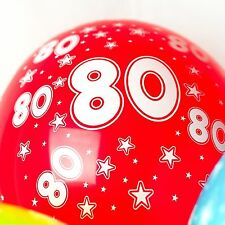 80th Birthday Balloons With Printed Numbers Party Latex Quality - Pack of 10