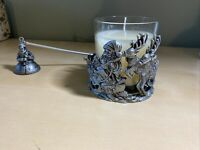 Christmas Pewter Pillar Candle Holder And Sniffer- Santa- New