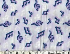 "MUSIC PURPLE NOTES on MAUVE, 100% Cotton Flannel, 21"" x 42"""