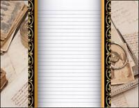 Art Deco Design Lined Stationery Writing Paper Set, 25 sheets & 10 envelopes