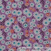 BonEful Fabric FQ Cotton Quilt Purple White Red Aqua Blue Flower Leaf Small Girl