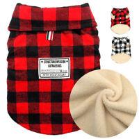 British Plaid Winter Dog Coat Christmas Pet Puppy Cat Fleece Jacket Warm Clothes