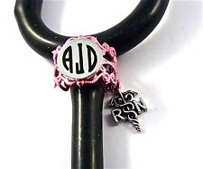 STETHOSCOPE ID TAG RING PINK LACE CHARM,RN CADUCEUS,MONOGRAMMED,NURSE,VET.ER,