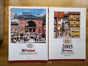 2 Preiser Catalogues model railway accessories 2005, people transport animals