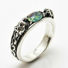 Medieval LION Ring .925 Sterling SILVER size 9 w/ Genuine Opal Triplet gemstone