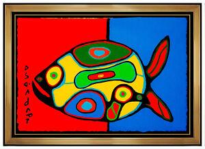 Norval Morrisseau Copper Thunderbird Original Acrylic Painting Signed Animal Art
