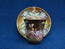 CHOCOLATE CUP SAUCER CAPODIMONTE GINORI DOCCIA BEST CONDITION TWISTED HANDLE LID