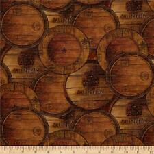 Digital Print Mia Sonoma Country Wine Barrels 100% cotton fabric by the yard