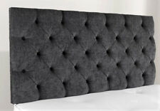 "5ft King Size 28"" High Chesterfield Charcoal Chenille Deep Buttoned Headboard"