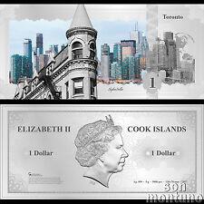 Skyline Note TORONTO CANADA - Flexible 5 Gram Silver Dollar 2017 Cook Islands $1