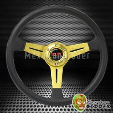 350mm Black/Gold Sport Style 6 Bolt Pattern Steering Wheel For Mitsubshi