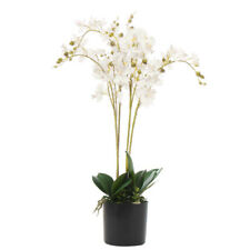 60cm Artificial Luxury Orchid - Triple Stem - White Realistic Plant LEAF-7043