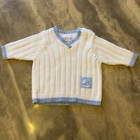 McBaby Baby Boy Preemie Blue And White Sweater With Sailboat 100% Cotton