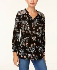 STYLE & CO WOMENS LARGE L BLOUSE SHIRT TOP FLORAL EMBROIDERED WESTERN TASSLES