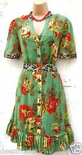 NEXT DRESS SIZE 18 VINTAGE 40s STYLE RETRO FLORAL GREEN LINED ~ US 14  EU 46