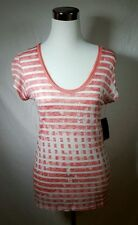 NWT Clavin Klein Whitened Coral Short Sleeve Womens Tee Shirt Sz S  MSRP $39.50
